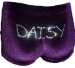 Purple velour personalised shorts